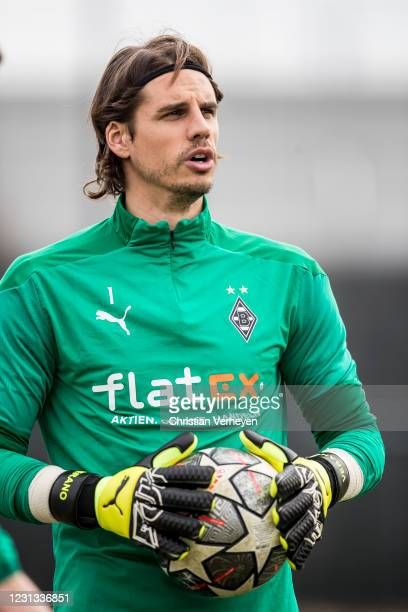 Yann Sommer is seen during a team training session of Borussia Moenchengladbach ahead the UEFA Champions League Round Of 16 Leg One match at...