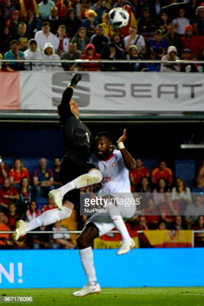 Yann Sommer Johan Djourou during a International friendly match between Spain against Switzerland in La Ceramica Stadium Villarreal Spain on 03 June...