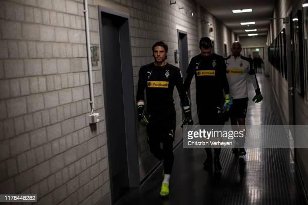 Yann Sommer Max Gruen and Goalkeeper Coach Steffen Krebs of Borussia Moenchengladbach are seen before the Bundesliga match between Borussia...