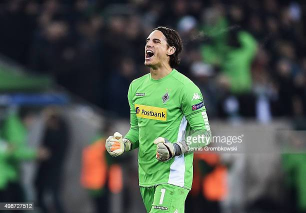 Yann Sommer of Borussia Moenchengladbach celebrates during the UEFA Champions League Group D match between Borussia Moenchengladbach and Sevilla at...