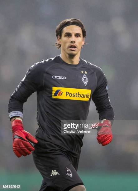 Yann Sommer of Borussia Moenchengladbach during the DFBCup match between Borussia Moenchengladbach and Bayer 04 Leverkusen at BorussiaPark on...