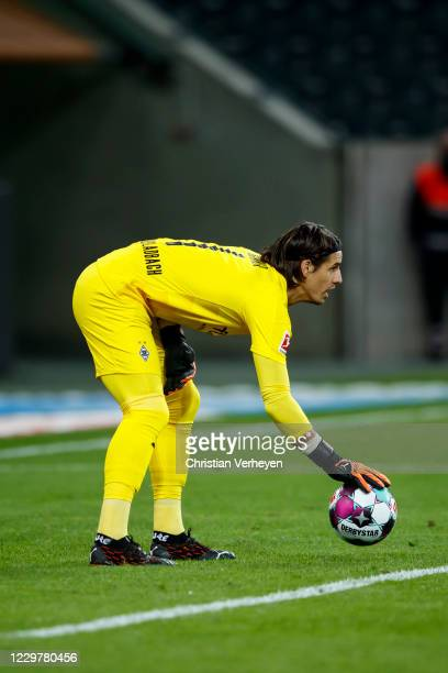 Yann Sommer of Borussia Moenchengladbach in action during the Bundesliga match between Borussia Moenchengladbach and FC Augsburg at BorussiaPark on...