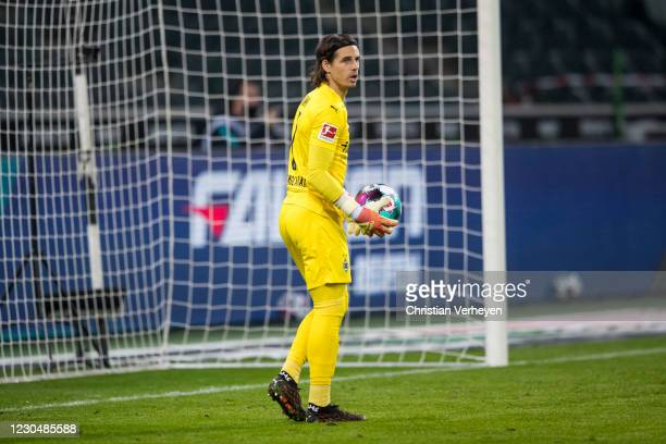 Yann Sommer of Borussia Moenchengladbach in action during the Bundesliga match between Borussia Moenchengladbach and FC Bayern Muenchen at...