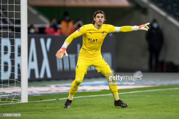 Yann Sommer of Borussia Moenchengladbach in action during the Bundesliga match between Borussia Moenchengladbach and SV Werder Bremen at...