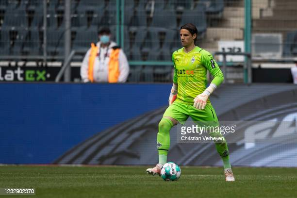 Yann Sommer of Borussia Moenchengladbach in action during the Bundesliga match between Borussia Moenchengladbach and VfB Stuttgart at Borussia-Park...