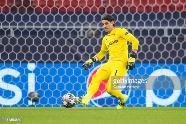 Yann Sommer of Borussia Moenchengladbach in action during the UEFA Champions League Round Of 16 Leg One match between Borussia Moenchengladbach and...