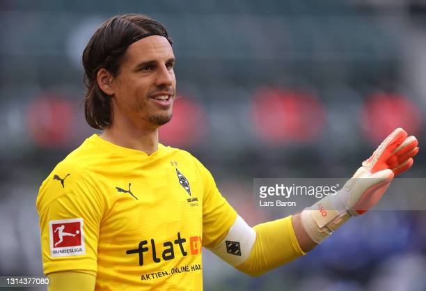 Yann Sommer of Borussia Moenchengladbach looks on during the Bundesliga match between Borussia Moenchengladbach and DSC Arminia Bielefeld at...