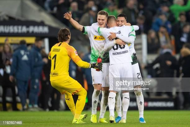 Yann Sommer of Borussia Moenchengladbach Matthias Ginter of Borussia Moenchengladbach Nico Elvedi of Borussia Moenchengladbach and Ramy Bensebaini of...