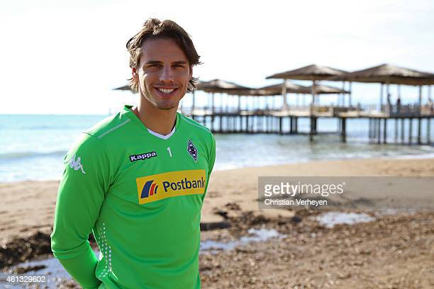 Yann Sommer of Borussia Moenchengladbach poses for a photo at the beach on day four of Borussia Moenchengladbach training camp on January 11 2015 in...