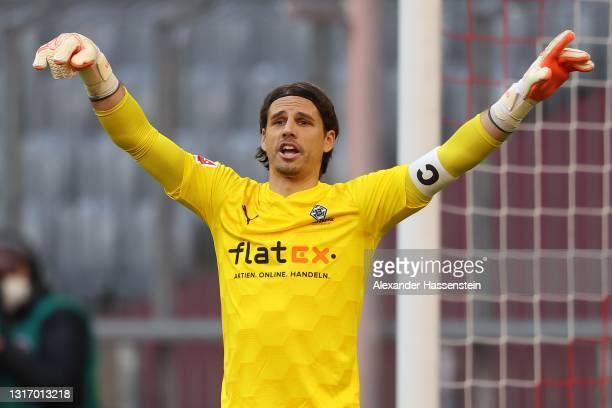 Yann Sommer of Borussia Moenchengladbach reacts during the Bundesliga match between FC Bayern Muenchen and Borussia Moenchengladbach at Allianz Arena...