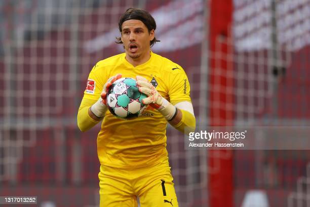 Yann Sommer of Borussia Moenchengladbach safes the ball during the Bundesliga match between FC Bayern Muenchen and Borussia Moenchengladbach at...