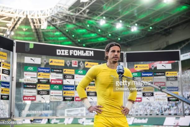 Yann Sommer of Borussia Moenchengladbach talks to the media after the Bundesliga match between Borussia Moenchengladbach and VfL Wolfsburg at...