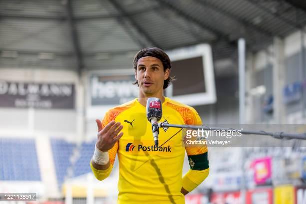 Yann Sommer of Borussia Moenchengladbach talks to the media after the Bundesliga match between SC Paderborn and Borussia Moenchengladbach at...