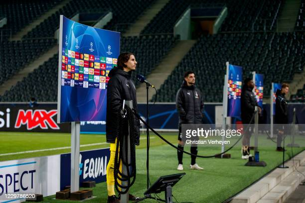 Yann Sommer of Borussia Moenchengladbach talks to the media after the Group B UEFA Champions League match between Borussia Moenchengladbach and...