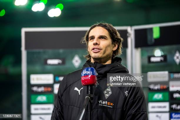 Yann Sommer of Borussia Moenchengladbach talks to the media after the Bundesliga match between Borussia Moenchengladbach and SV Werder Bremen at...
