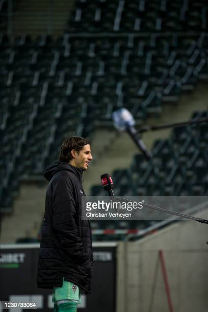Yann Sommer of Borussia Moenchengladbach talks to the media after the Bundesliga match between Borussia Moenchengladbach and Borussia Dortmund at...