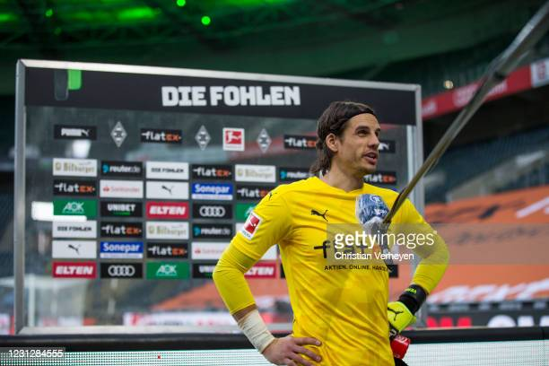 Yann Sommer of Borussia Moenchengladbach talks to the media after the Bundesliga match between Borussia Moenchengladbach and 1. FSV Mainz 05 at...