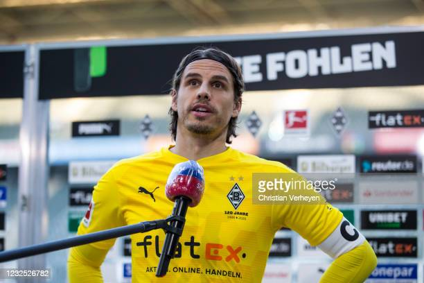 Yann Sommer of Borussia Moenchengladbach talks to the media after the Bundesliga match between Borussia Moenchengladbach and DSC Arminia Bielefeld at...