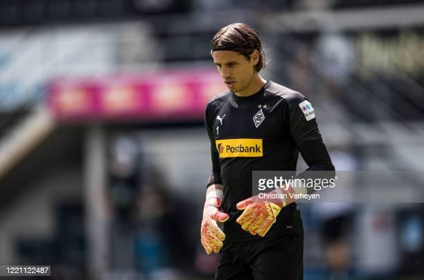 Yann Sommer of Borussia Moenchengladbach warm up ahead the Bundesliga match between SC Paderborn and Borussia Moenchengladbach at BentelerArean on...