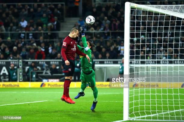 Yann Sommer of Borussia Monchengladbach makes a save from Adam Zrelak of Nuernberg during the Bundesliga match between Borussia Moenchengladbach and...