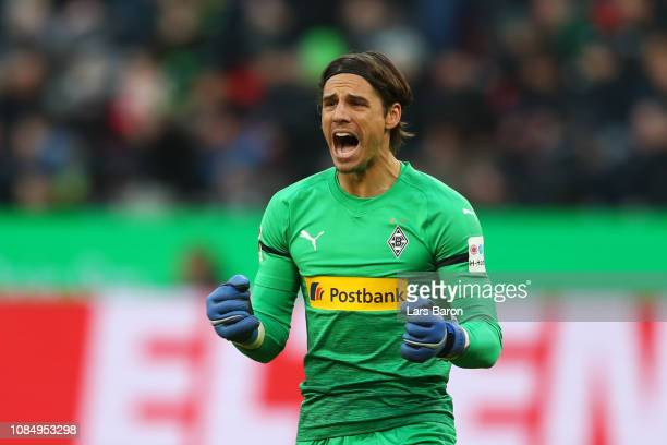 Yann Sommer of Borussia Monchengladbach reacts following his teams first goal during the Bundesliga match between Bayer 04 Leverkusen and Borussia...