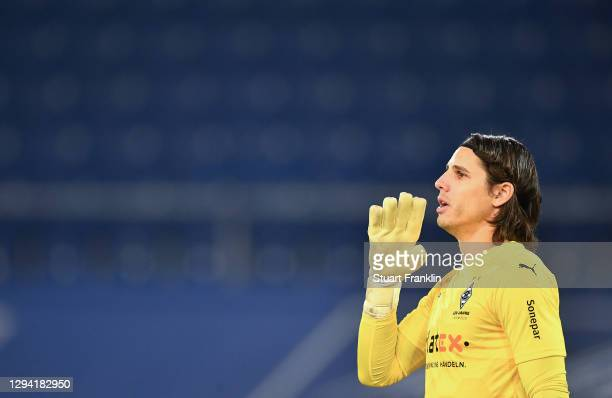 Yann Sommer of Gladbach reacts during the Bundesliga match between DSC Arminia Bielefeld and Borussia Moenchengladbach at Schueco Arena on January...