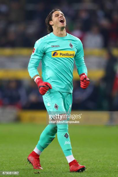 Yann Sommer of Moenchengladbach celebrates a goal by his team during the Bundesliga match between Borussia Moenchengladbach and FC Bayern Muenchen at...