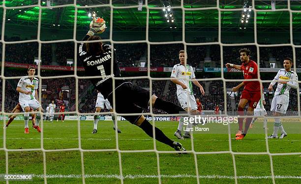 Yann Sommer of Moenchengladbach saves a shot of Javier Martinez of Muenchen during the Bundesliga match between Borussia Moenchengladbach and FC...