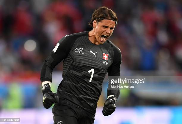 Yann Sommer of Switzerland celebrates his team's first goal during the 2018 FIFA World Cup Russia group E match between Serbia and Switzerland at...