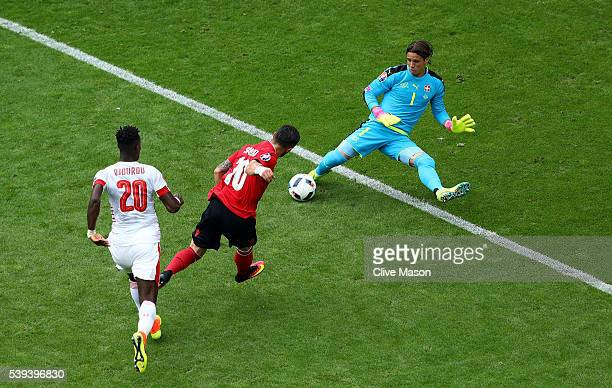 Yann Sommer of Switzerland makes a save a shot by Armando Sadiku of Albania during the UEFA EURO 2016 Group A match between Albania and Switzerland...