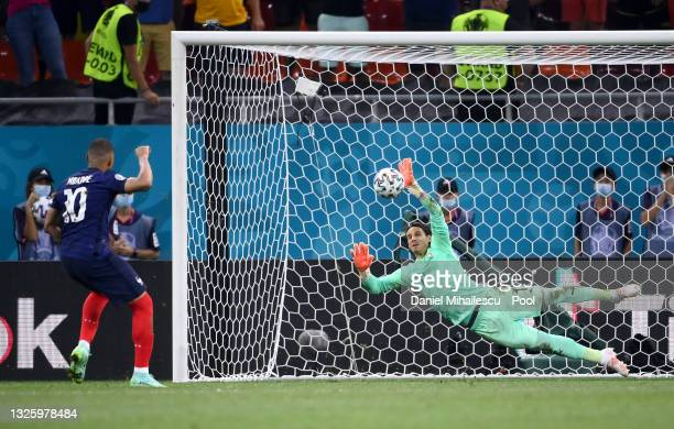Yann Sommer of Switzerland saves the France fifth and decisive penalty taken by Kylian Mbappe during the UEFA Euro 2020 Championship Round of 16...