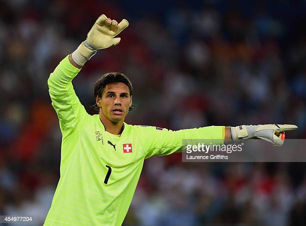 Yann Sommer of Switzerland signals during the UEFA EURO 2016 Group E qualifying match between Switzerland and England at St JakobPark on September 8...