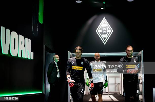 Yann Sommer, Steffen Krebs and Tobias Sippel of Borussia Moenchengladbach are seen before the Pre-Season friendly match between Borussia...