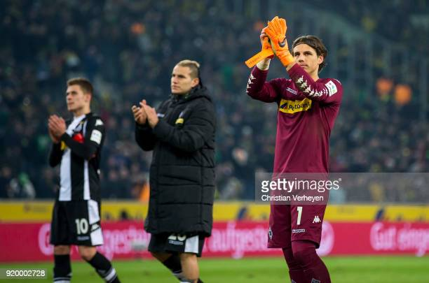 Yann Sommer Thorgan Hazard and Raul Bobadilla of Borussia Moenchengladbach looks disappointed after the Bundesliga match between Borussia...