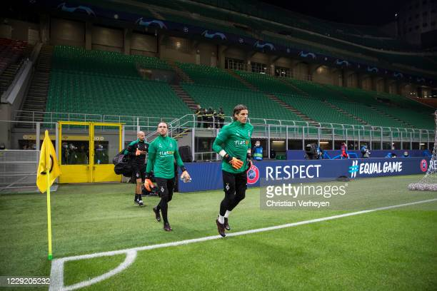 Yann Sommer, Tobias Sippel and Goalkeeper Coach Steffen Krebs of Borussia Moenchengladbach are seen before the Group B - UEFA Champions League match...