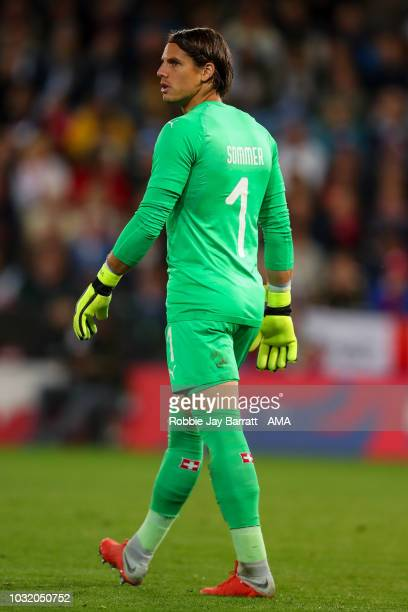 Yann Summer of Switzerland during the International Friendly match between England and Switzerland at The King Power Stadium on September 11, 2018 in...