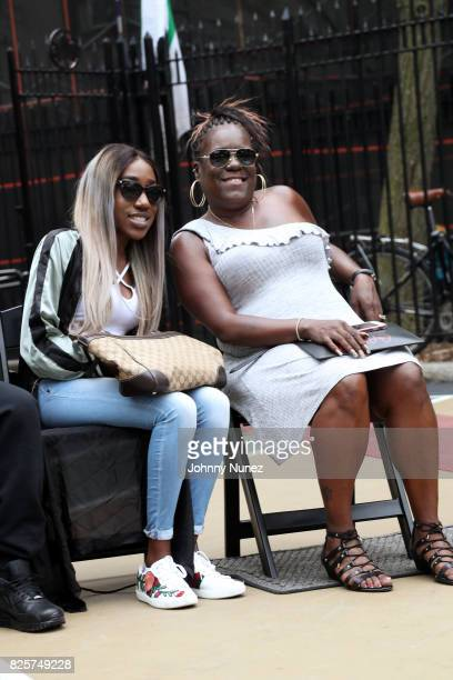 T'yanna Dream Wallace and Jan Jackson attend the ribbon cutting ceremony at Crispus Attucks Playground on August 2 2017 in the Brooklyn borough of...
