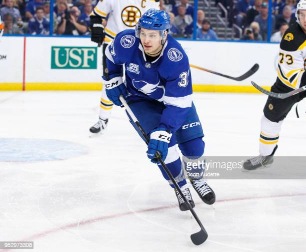 Yanni Gourde of the Tampa Bay Lightning against the Boston Bruins during Game One of the Eastern Conference Second Round during the 2018 NHL Stanley...