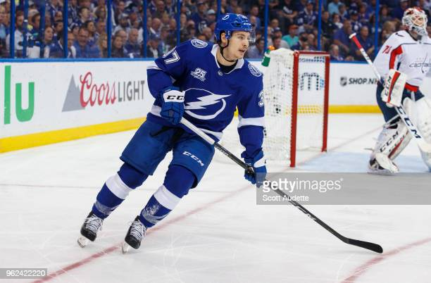 Yanni Gourde of the Tampa Bay Lightning against the Washington Capitals during Game Seven of the Eastern Conference Final during the 2018 NHL Stanley...