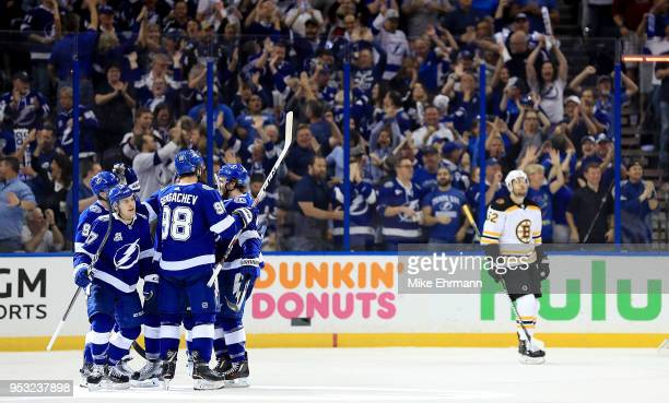 Yanni Gourde of the Tampa Bay Lightning celebrates a goal during Game Two of the Eastern Conference Second Round against the Boston Bruins during the...