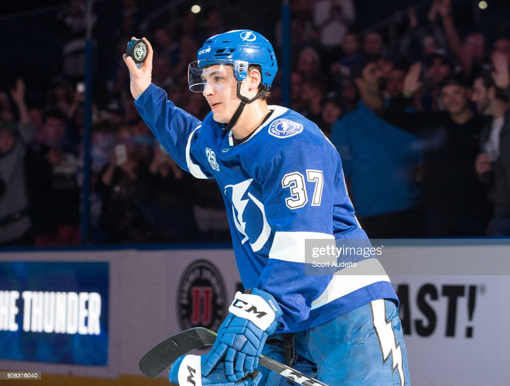 Yanni Gourde #37 of the Tampa Bay Lightning celebrates the win against the Florida Panthers at Amalie Arena on March 6, 2018 in Tampa, Florida.