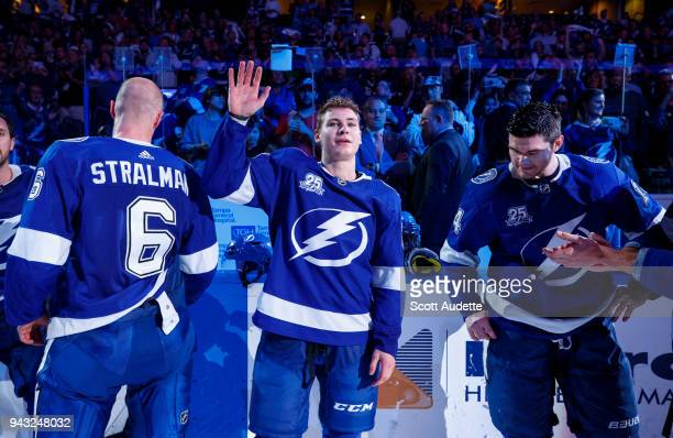 Yanni Gourde of the Tampa Bay Lightning celebrates the win against the Buffalo Sabres at Amalie Arena on April 6 2018 in Tampa Florida n