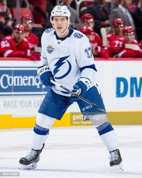 Yanni Gourde of the Tampa Bay Lightning follows the play against the Detroit Red Wings during an NHL game at Little Caesars Arena on January 7 2017...