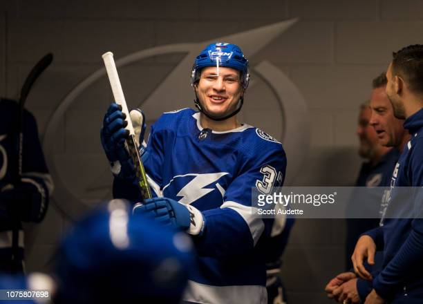 Yanni Gourde of the Tampa Bay Lightning gets ready for the game against the Montreal Canadiens at Amalie Arena on December 29 2018 in Tampa Florida