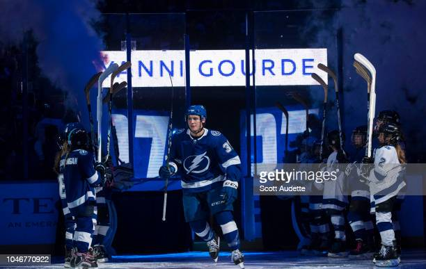 Yanni Gourde of the Tampa Bay Lightning is introduced before the home opener against the Florida Panthers at Amalie Arena on October 6 2018 in Tampa...