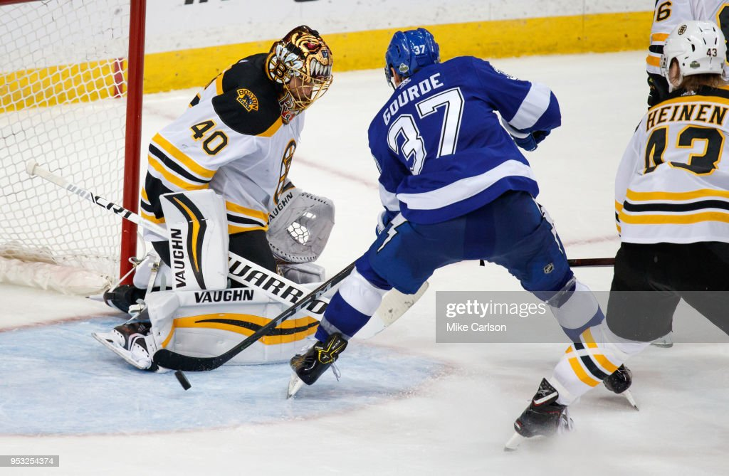 Yanni Gourde #37 of the Tampa Bay Lightning misses on a shot against Tuukka Rask #40 of the Boston Bruins during Game Two of the Eastern Conference Second Round during the 2018 NHL Stanley Cup Playoffs at Amalie Arena on April 30, 2018 in Tampa, Florida.