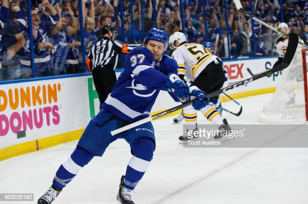 Yanni Gourde of the Tampa Bay Lightning scores against goalie Tuukka Rask of the Boston Bruins during Game Two of the Eastern Conference Second Round...