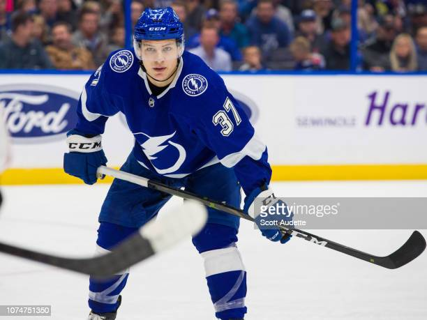 Yanni Gourde of the Tampa Bay Lightning skates against the Anaheim Ducks during the first period at Amalie Arena on November 27 2018 in Tampa Florida...