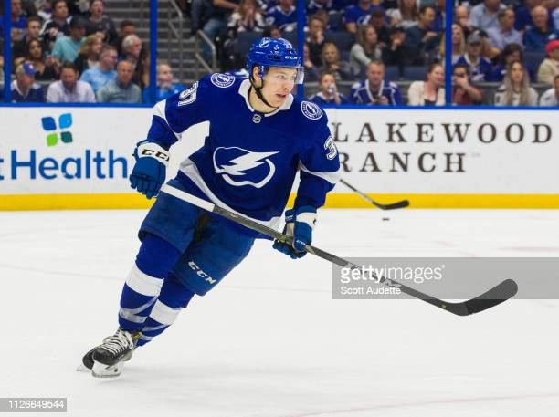 Yanni Gourde of the Tampa Bay Lightning skates against the Buffalo Sabres in the second period at Amalie Arena on February 21 2019 in Tampa Florida