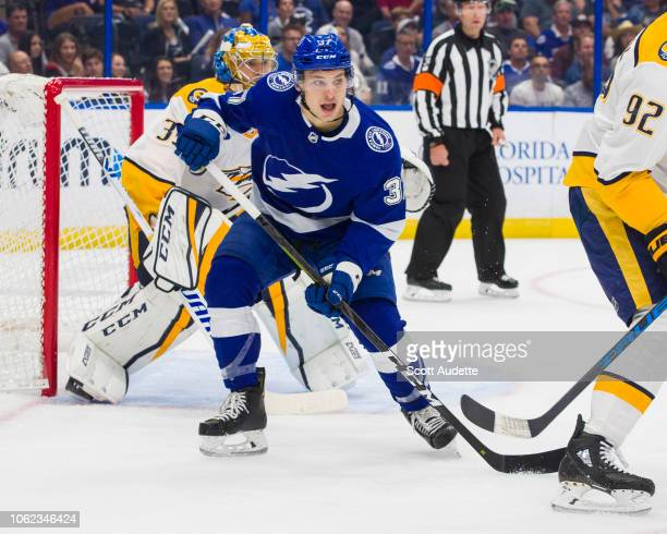 Yanni Gourde of the Tampa Bay Lightning skates against the Nashville Predators during the first period at Amalie Arena on November 1 2018 in Tampa...